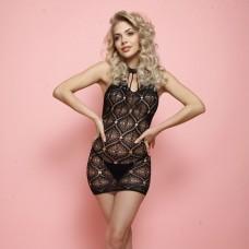 Ажурное мини-платье с воротником